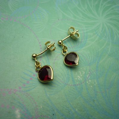 Vintage Gold Plated Sterling Silver Earrings with Garnet Hearts