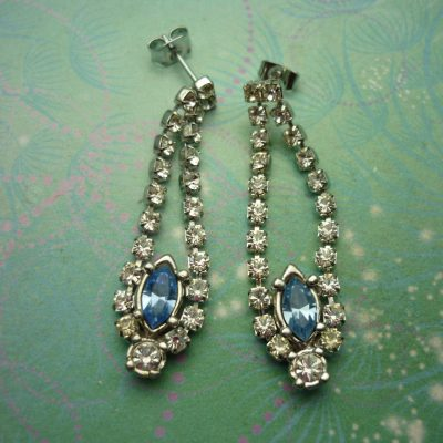 Vintage Silver Earrings - Rhinestones with Steel Posts