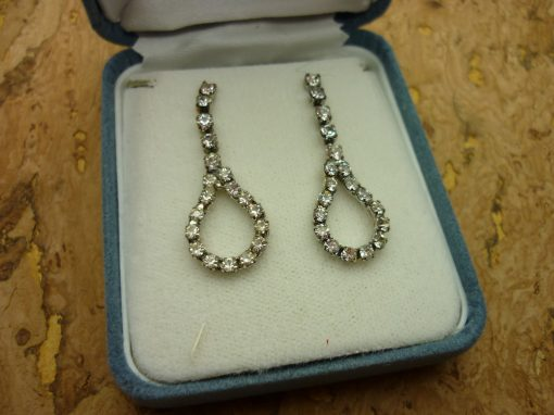 Vintage Silver Earrings - Sparkling Crystals