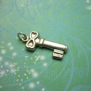 Vintage Silver Key Charm - Vintage Charm - Sterling Silver - Silver Charm - Key Pendant - Vintage Key - Antique Silver Key - Jewelry Making
