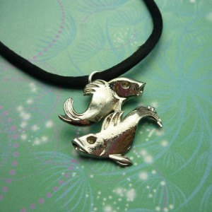Vintage Silver Plated Dangle Charm - Zodiac Pisces