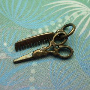 Vintage Sterling Silver Charm - Comb & Scissors Hairdresser