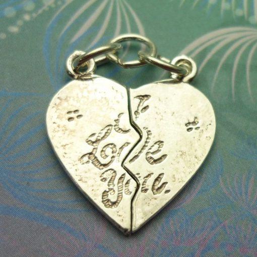 Vintage Sterling Silver Charm - I Love You Heart (2 halfs make 1 whole)