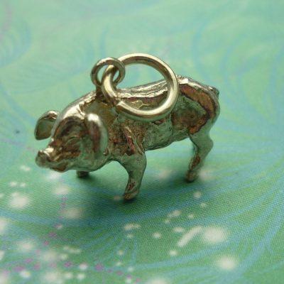 Vintage Sterling Silver Charm - Pig