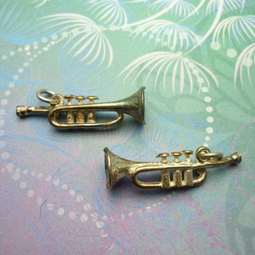 Vintage Sterling Silver Charm - Trumpet No.3