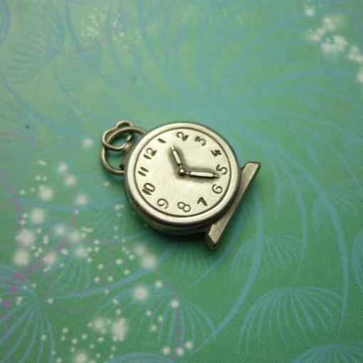 Vintage Sterling Silver Dangle Charm - Alarm Clock Big