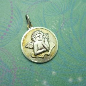 Vintage Sterling Silver Dangle Charm - Angel round