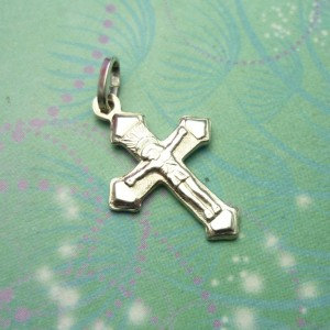 Vintage Sterling Silver Dangle Charm - Cross 3