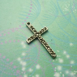 Vintage Sterling Silver Dangle Charm - Cross 4