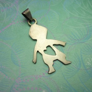 Vintage Sterling Silver Dangle Charm - Cut out Boy