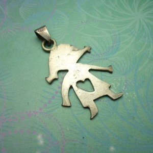 Vintage Sterling Silver Dangle Charm - Cut out Girl