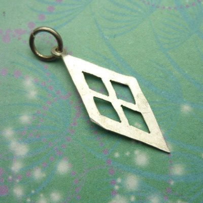 Vintage Sterling Silver Dangle Charm - Diamond