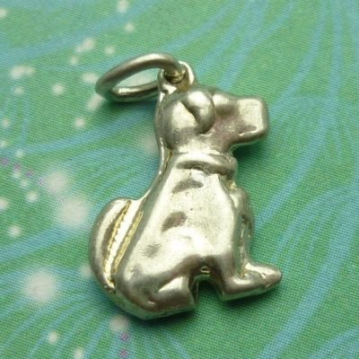 Vintage Sterling Silver Dangle Charm - Dog