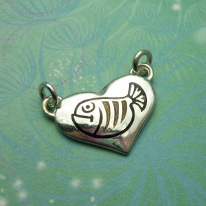 Vintage Sterling Silver Dangle Charm - fish enamelled