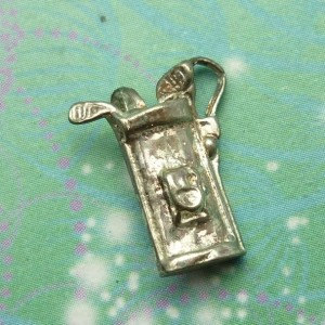 Vintage Sterling Silver Dangle Charm - Golf clubs small