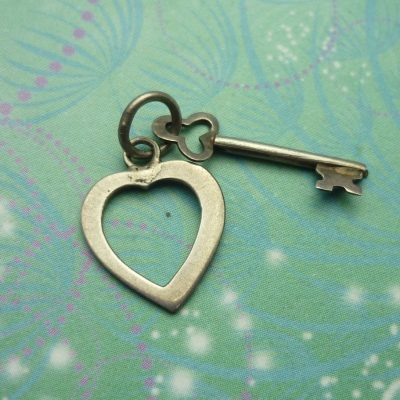 Vintage Sterling Silver Dangle Charm - Heart & Key