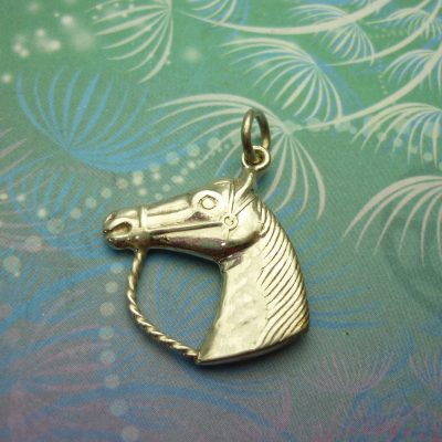 Vintage Sterling Silver Dangle Charm - Horse Head