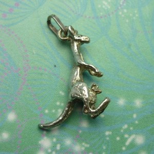 Vintage Sterling Silver Dangle Charm - Kangaroo & joey