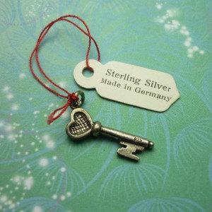 Vintage Sterling Silver Dangle Charm - Key 5