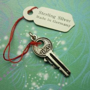 Vintage Sterling Silver Dangle Charm - key 9