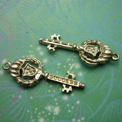 Vintage Sterling Silver Dangle Charm - Key Success
