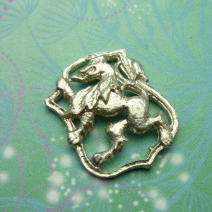 Vintage Sterling Silver Dangle Charm - Lion Shield