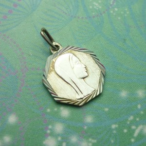 Vintage Sterling Silver Dangle Charm - Mary silver