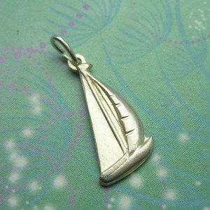 Vintage Sterling Silver Dangle Charm - Racing Boat