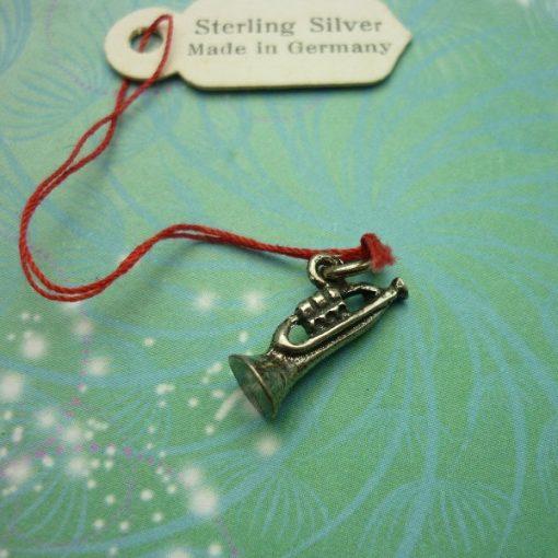Vintage Sterling Silver Dangle Charm - Trumpet
