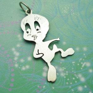 Vintage Sterling Silver Dangle Charm - Tweetie bird