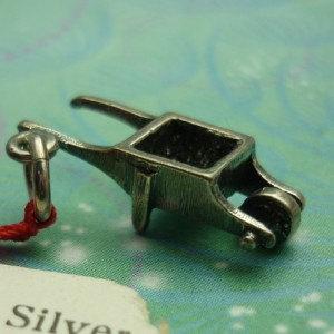 Vintage Sterling Silver Dangle Charm - Wheel barrow