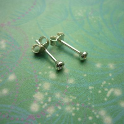 Vintage Sterling Silver Earrings 2.5mm Cubic Zirconia Studs