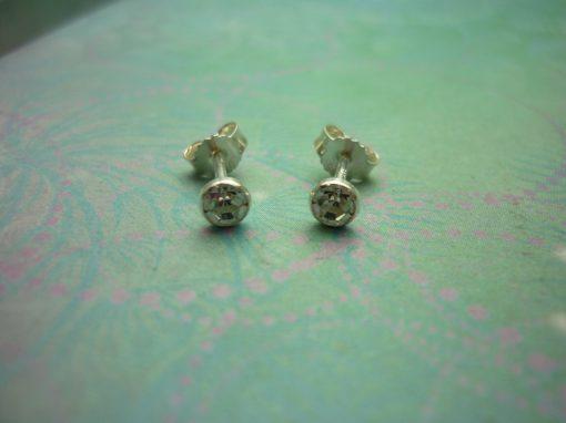 Vintage Sterling Silver Earrings 3.5mm Cubic Zirconia Studs