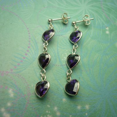 Vintage Sterling Silver Earrings 3 drop Amethyst Hearts
