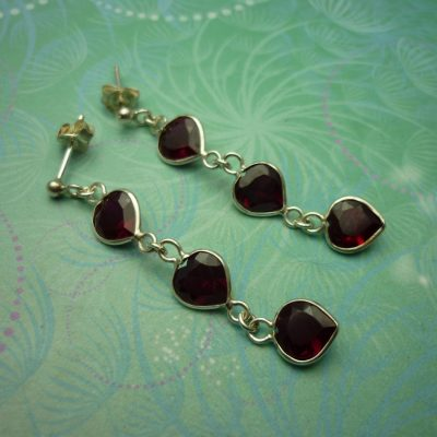 Vintage Sterling Silver Earrings - 3 drop Garnet Hearts