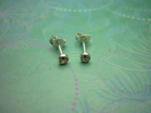 Vintage Sterling Silver Earrings 3mm Cubic Zirconia studs