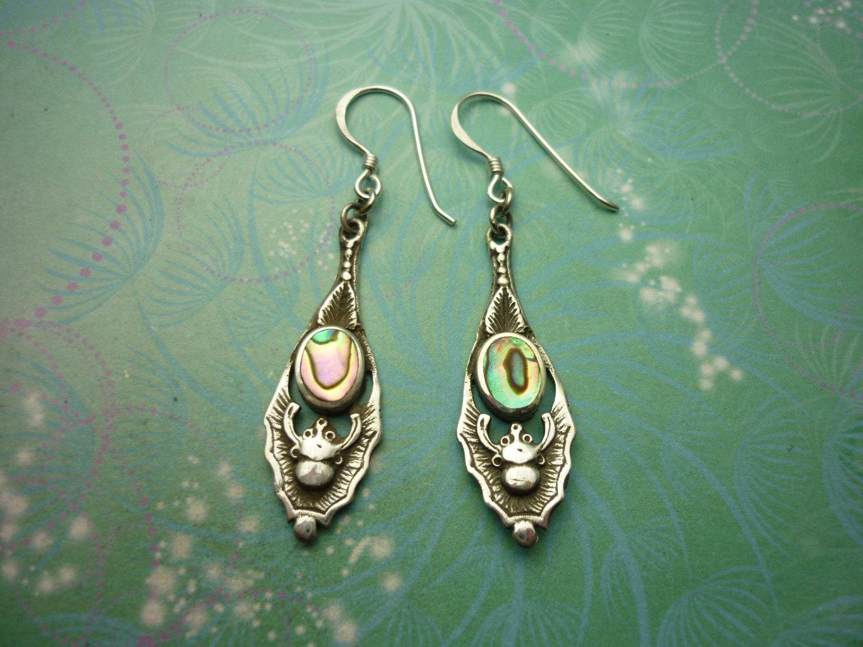 Abalone Paua Shell & 925 Sterling Silver Earrings tQ5xwiOs