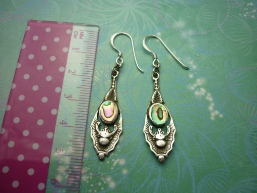 Vintage Sterling Silver Earrings - Abalone Paua Shell - 925 Hallmarked - Style 1