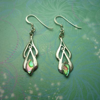 Vintage Sterling Silver Earrings - Abalone Paua Shell - 925 Hallmarked - Style 3