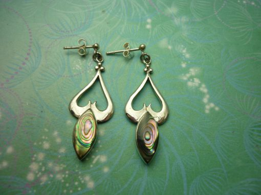 Vintage Sterling Silver Earrings - Abalone Paua Shell - 925 Hallmarked - Style 6