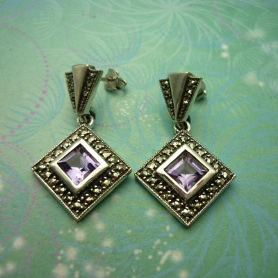 Vintage Sterling Silver Earrings - Amethyst