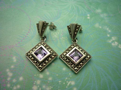 Vintage Sterling Silver Earrings - Amethyst