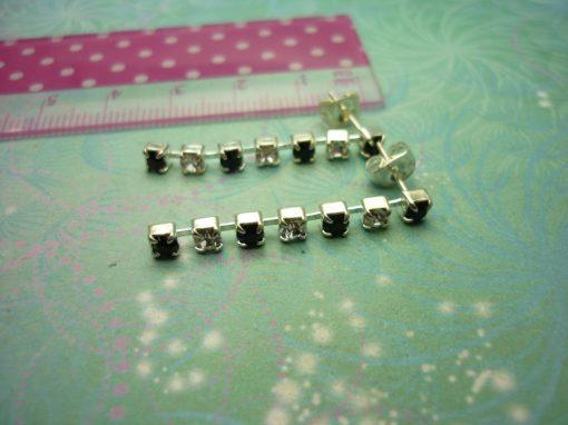 Vintage Sterling Silver Earrings - Black & Clear