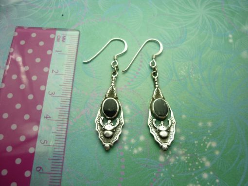 Vintage Sterling Silver Earrings - Black Onyx - 925 Hallmarked - Style 23