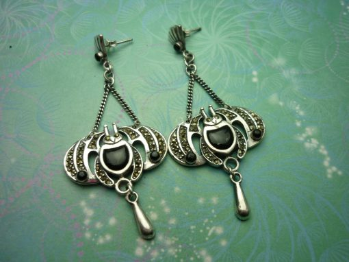 Vintage Sterling Silver Earrings - Black Onyx - 925 Hallmarked - Style 24