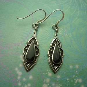 Vintage Sterling Silver Earrings - Black Onyx - 925 Hallmarked - Style 25