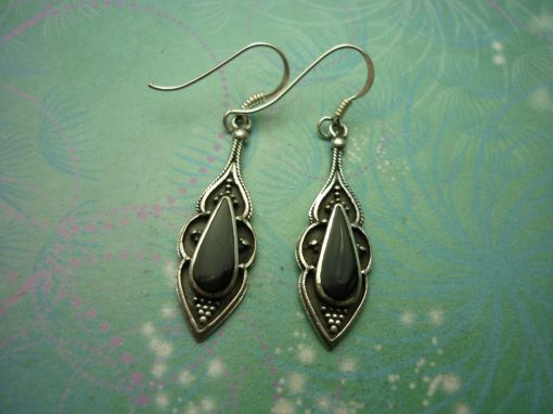Vintage Sterling Silver Earrings - Black Onyx - 925 Hallmarked - Style 25