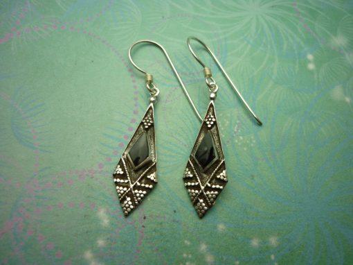Vintage Sterling Silver Earrings - Black Onyx - 925 Hallmarked - Style 28