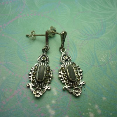 Vintage Sterling Silver Earrings - Black Onyx - 925 Hallmarked - Style 29