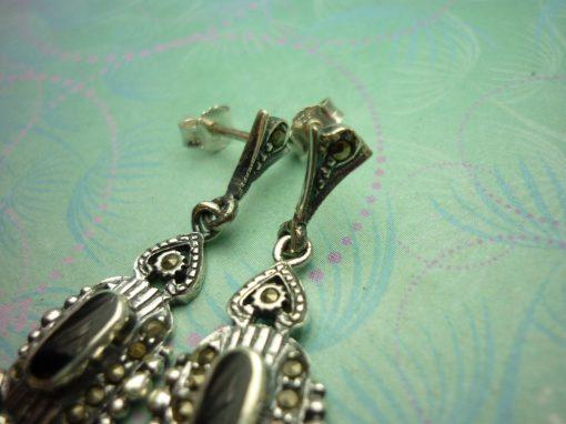 Vintage Sterling Silver Earrings - Black Onyx - 925 Hallmarked - Style 29